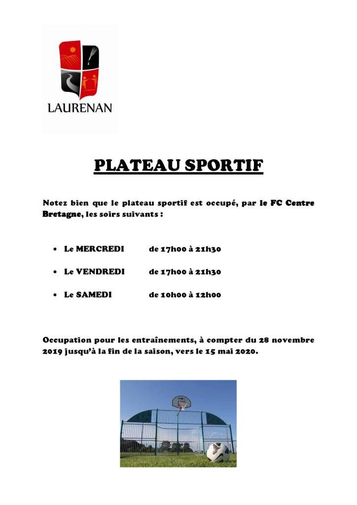 Plateau sportif : occupation par FC Centre Bretagne pour les entraînements