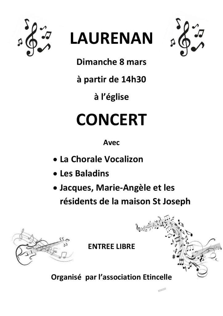 Concert à l'église de Laurenan : dimanche 8 mars 2020