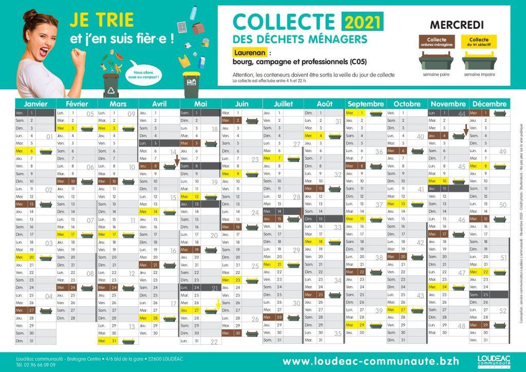 Collecte 2021 : calendrier