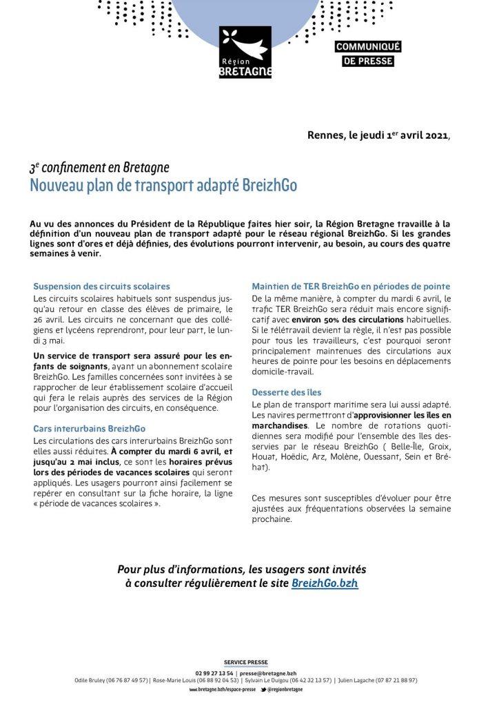 Confinement : nouveau plan de transport adapté BreizhGo